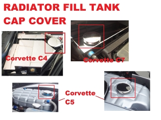 CHROME CAP COVER: Fits RADIATOR & WASHER TANK